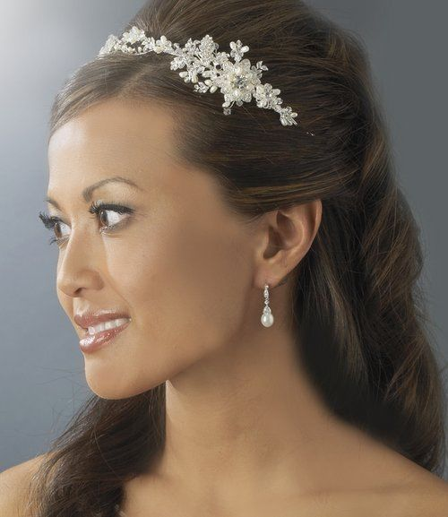 Silver Bridal Wedding Vine Freshwater Pearl Crystal Side Accent Headband