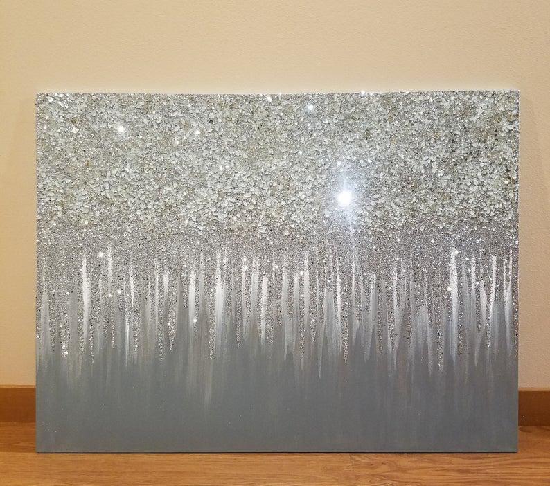 Original Silver Glitter Art Etsy Glitter Wall Art Glitter Art Glitter Wall