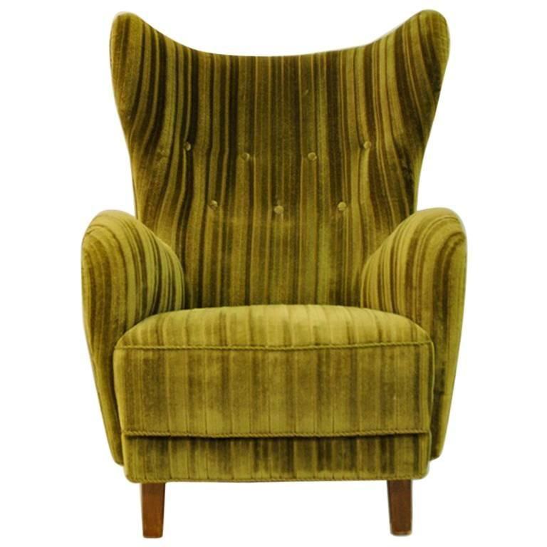Green velvet wingback easy chair 1930s1940s denmark for