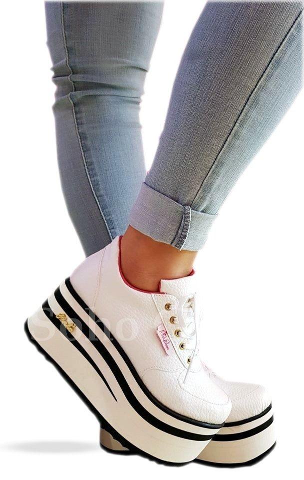 370193430 Zapatillas Sneakers Con Plataforma Alta Mujer Moda 2018 - $ 1.300,00 en Mercado  Libre