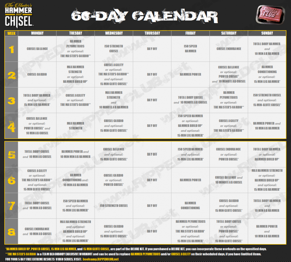 Download The Hammer And Chisel Workout Calendar