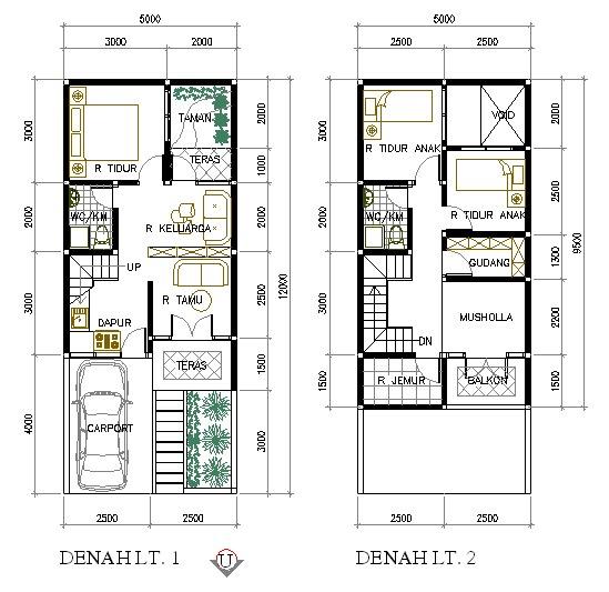Denah Rumah Minimalis 5x9 5 Meter 2 Lantai Creativ House Plans