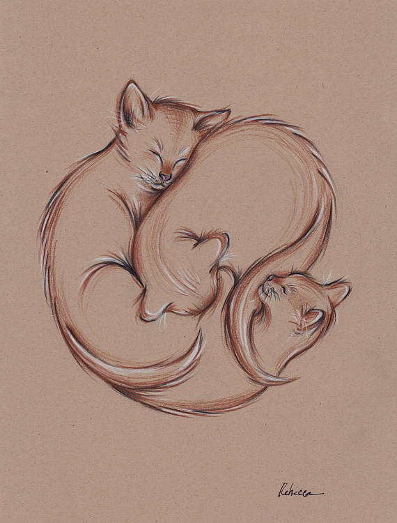 Original Enso Zen Painting Throw Pillows: Original Prisma Pencil Three Cats Sleeping Enso