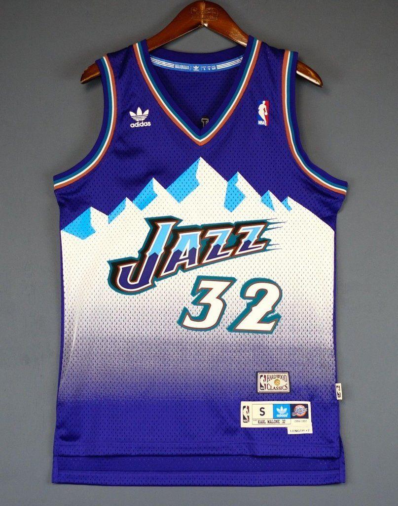 3c64d4a1c Men 32 Karl Malone Jersey Blue Utah Jazz Jersey Swingman Hardwood Classics