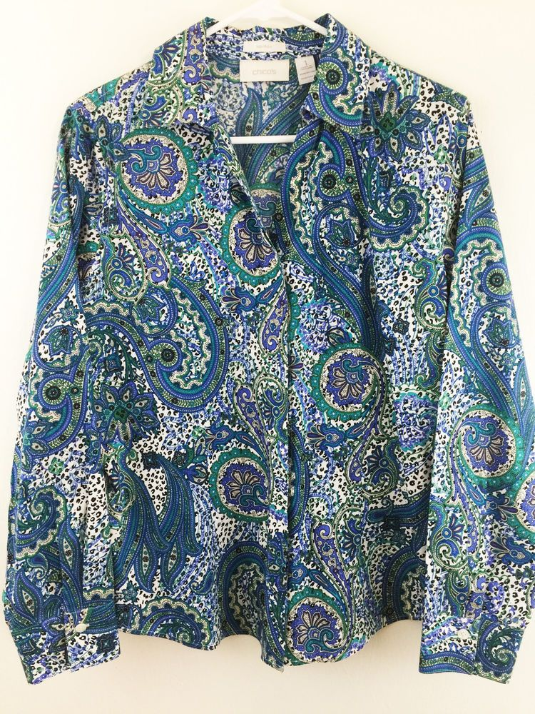 7efc1620cc64 Chicos No-Iron Paisley Animal Print Career Top S 8. Paisley print in colors  of lavender, blue-green, blue, and black and white. Hidden button front  closure, ...