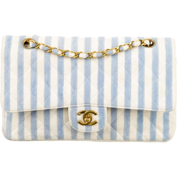1bb4ee7e0301 Pre-owned Chanel Medium Striped Double Flap Bag ($1,695) ❤ liked on  Polyvore featuring bags, handbags, blue, white handbags, canvas purse,  quilted purses, ...