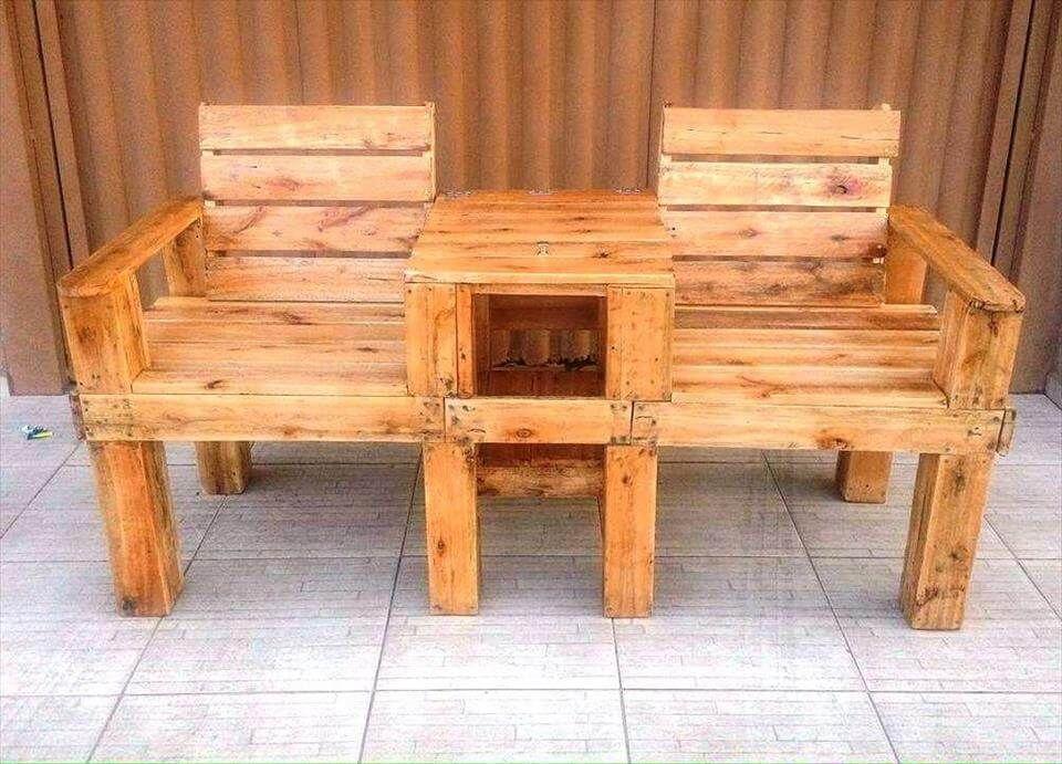 Peachy Pallet Double Chair Bench Genius Pallet Ideas Easy Customarchery Wood Chair Design Ideas Customarcherynet