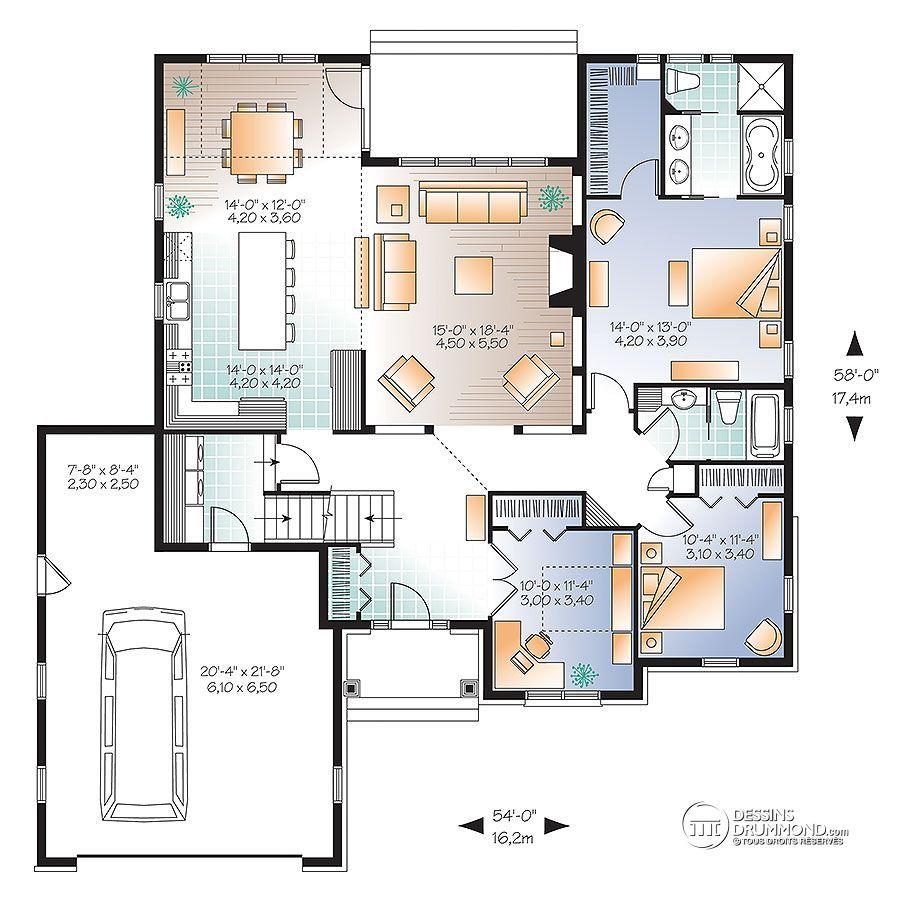 Détail Du Plan De Maison Unifamiliale W3226 V2 Plan Maison