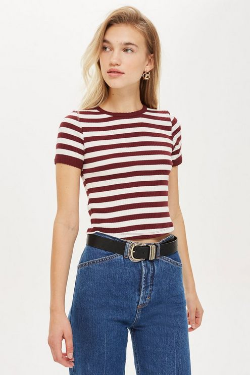 fb1f40b89 Short Sleeve Stripe Scallop T-Shirt in 2019 | Products | Shirts ...