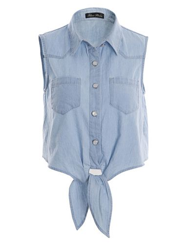 Sleeveless Pure Color Single Breast Slim Casual Blouse For Girl on buytrends.com