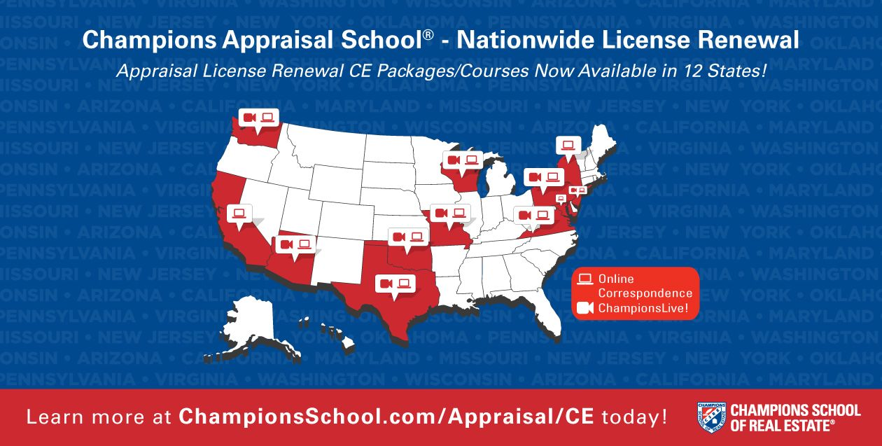 Champions School Of Real Estate Now Offers Appraisers In 12