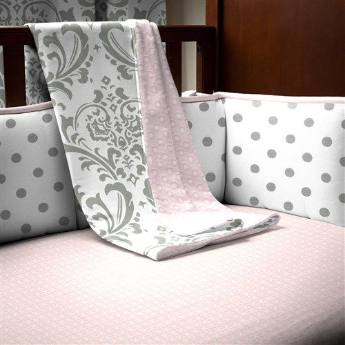 Pink and Gray Traditions Crib Bedding for Baby Girls by Carousel Designs.