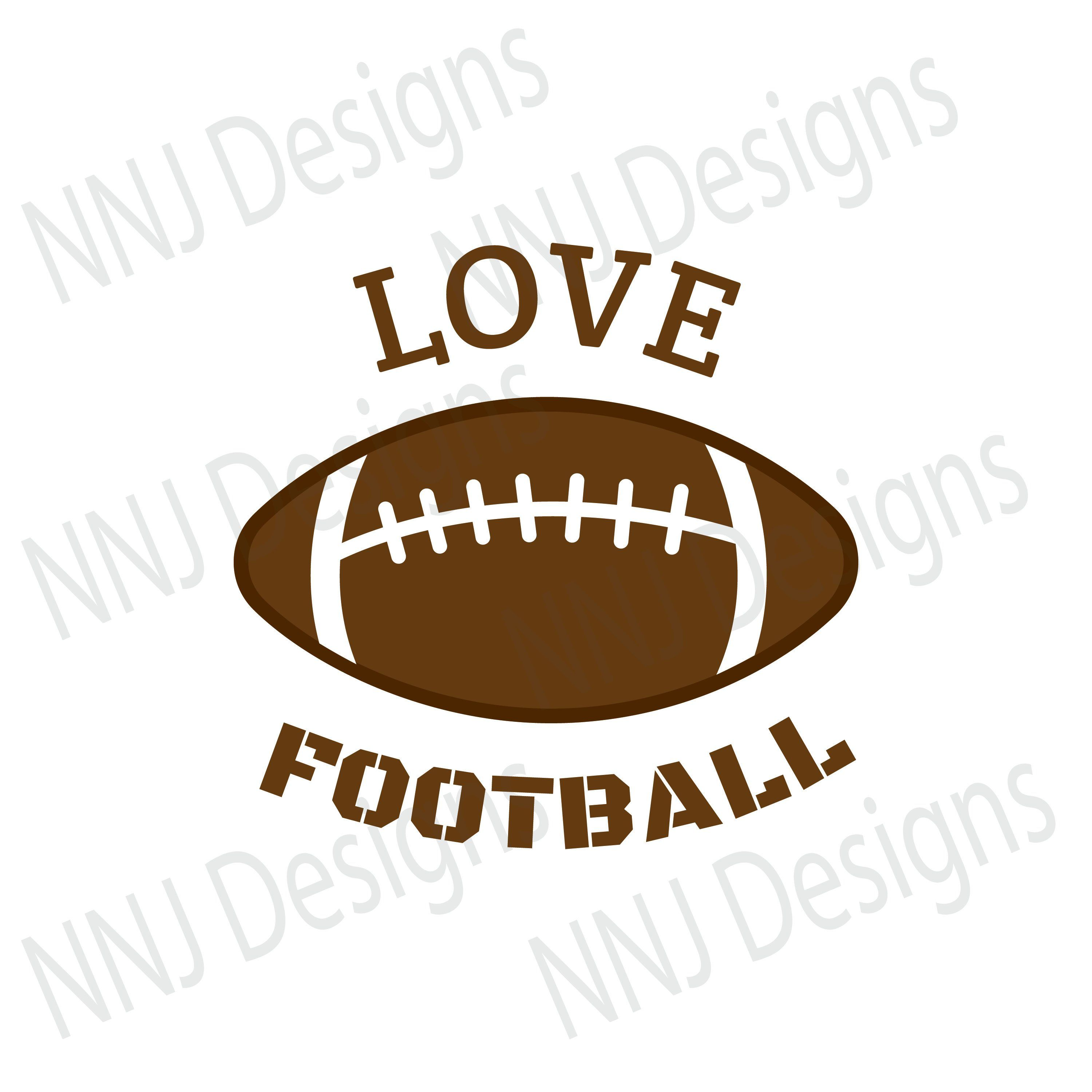 Love Football SVG Files Football Lace Sports Ball Clipart