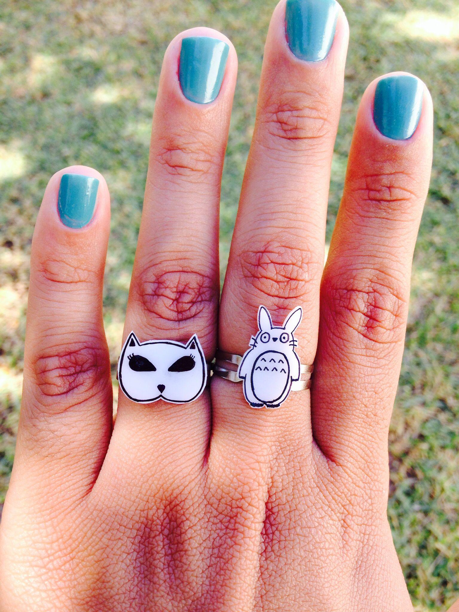 DIY anéis feitos com Polishrink; #handmade