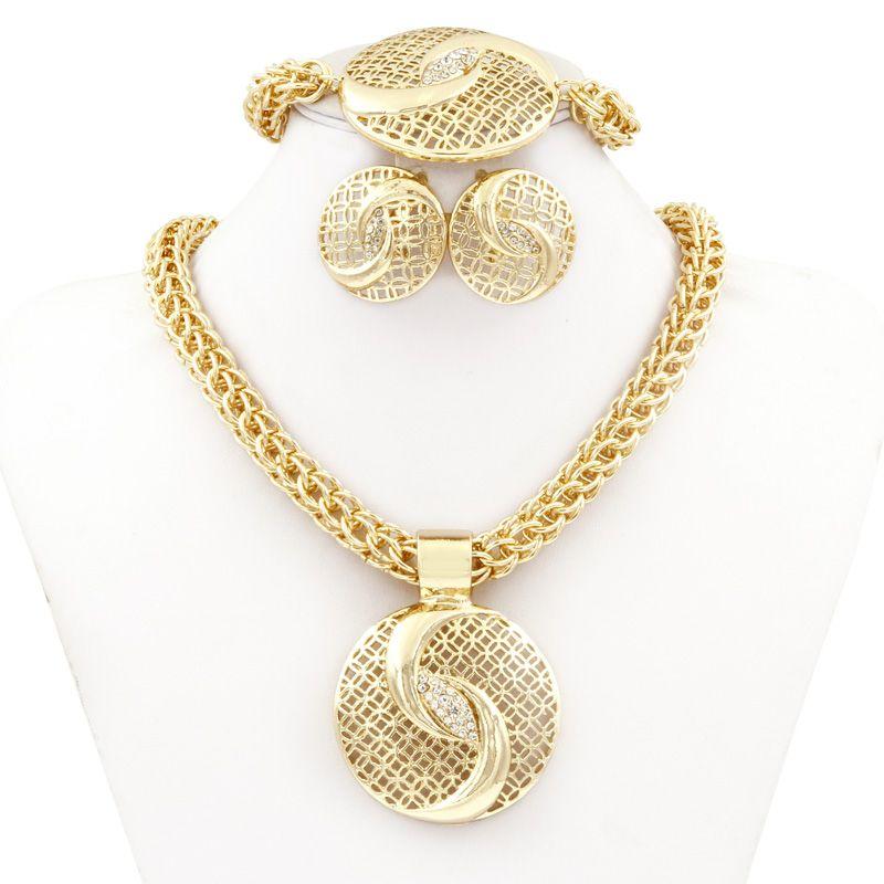 Chinese Tai Chi Jewelry Dubai Gold Plated Big Necklace Sets Fashion Nigerian Wedding African Crystal