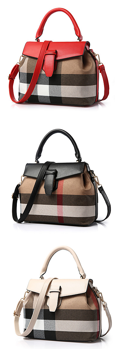 Yes, yes, yes! We love this trendy shecked messenger shoulder tote bag. Comes in red, black and beige colors at $18.91