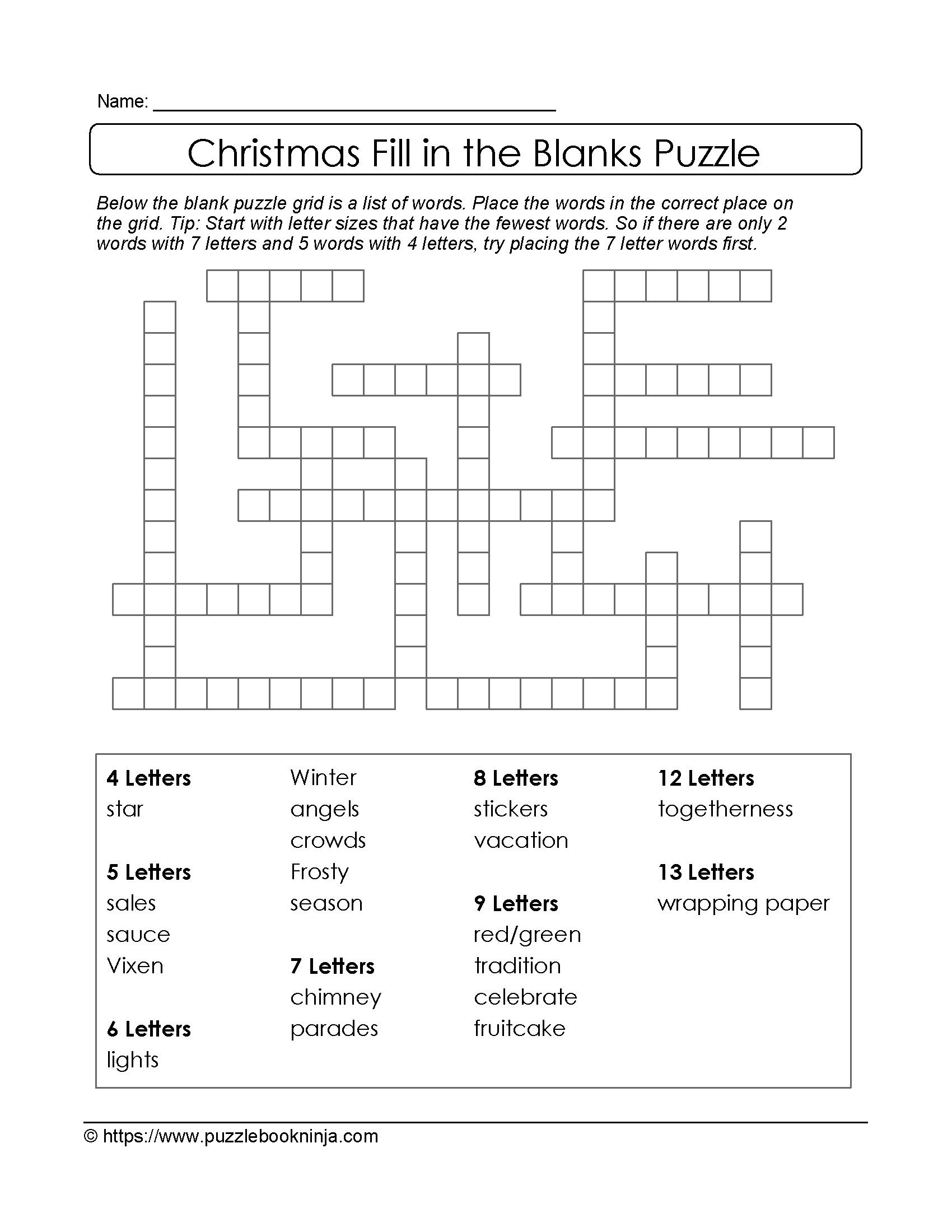 Freebie Puzzles To Print Download Christmas Theme Puzzle