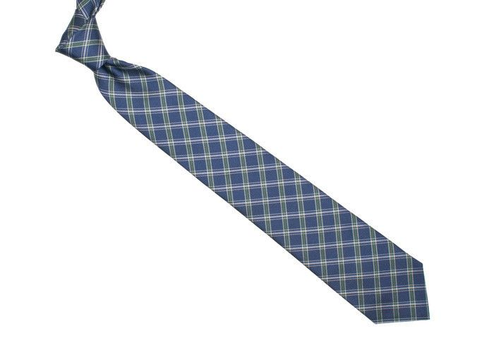 """Silk Plaid Tie - Navy and Green 3"""" $55"""