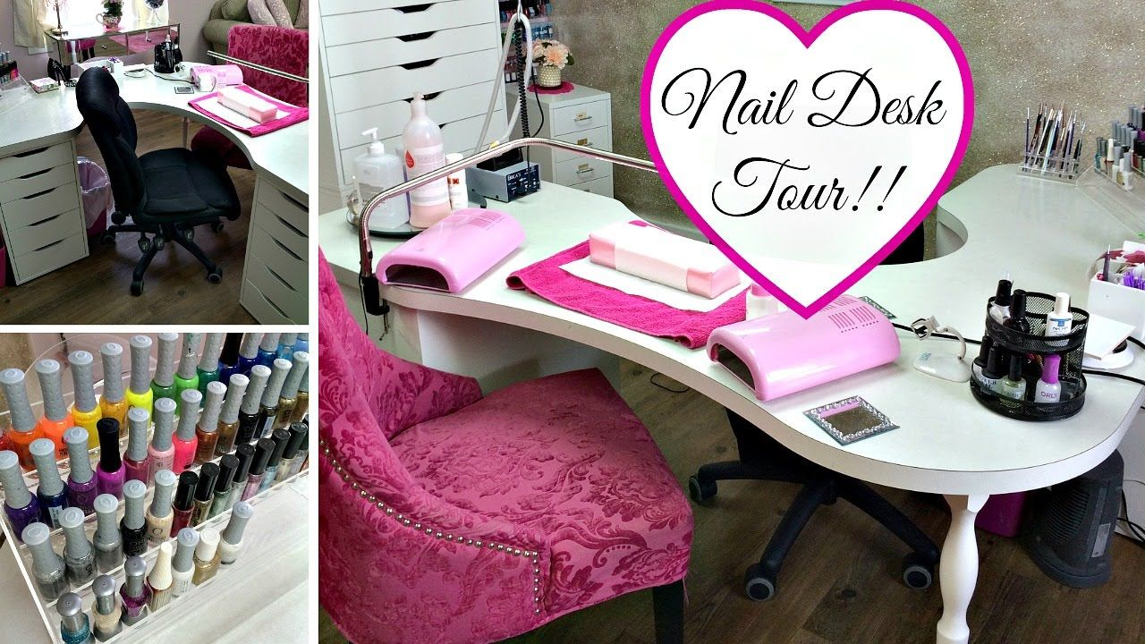 Nail Desk Tour!! Nail desk, Home nail salon, Nail salon