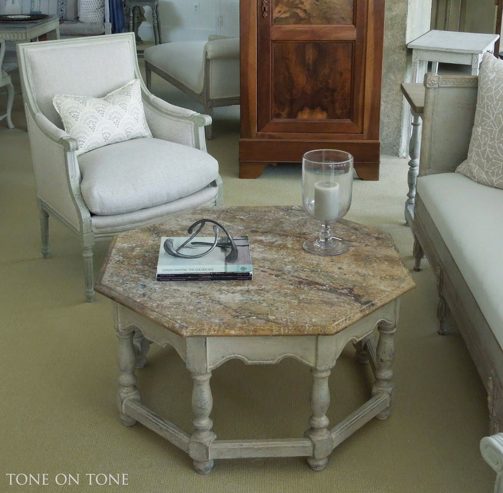 A Fabulous Moroccan Style Octagonal Coffee Table With Trompe Loeil