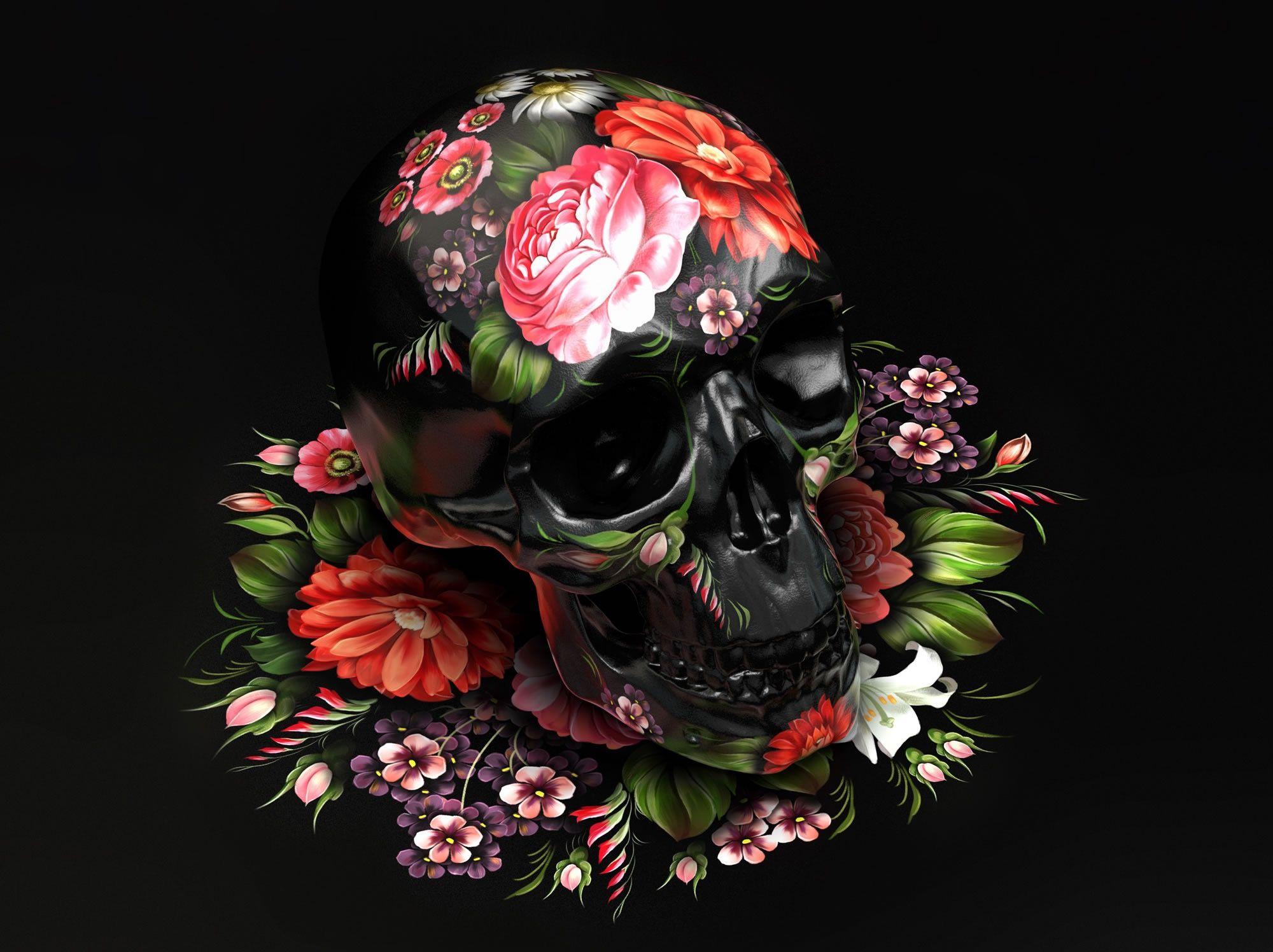 можно картинки с черепами с цветами же