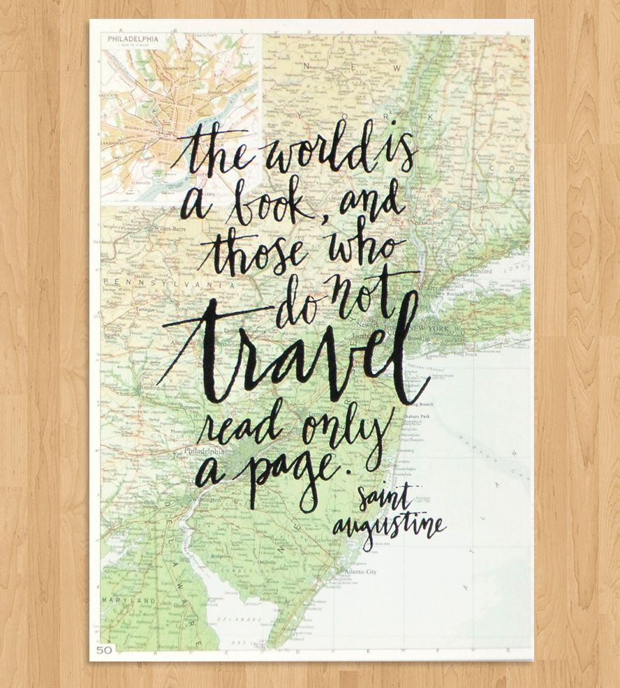 Travel Quote Calligraphy Print Map