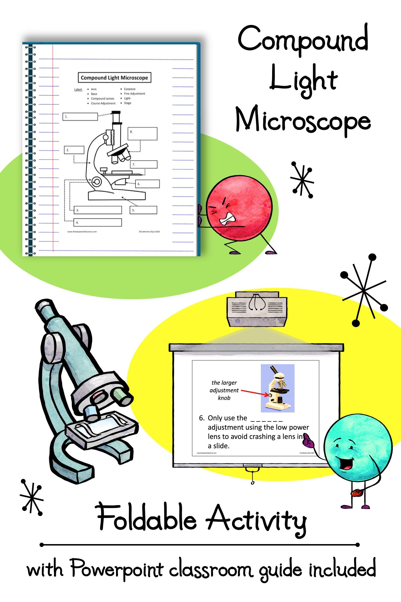 Microscope Foldable Activity with Powerpoint Classroom Guide   Free science  worksheets [ 2100 x 1400 Pixel ]