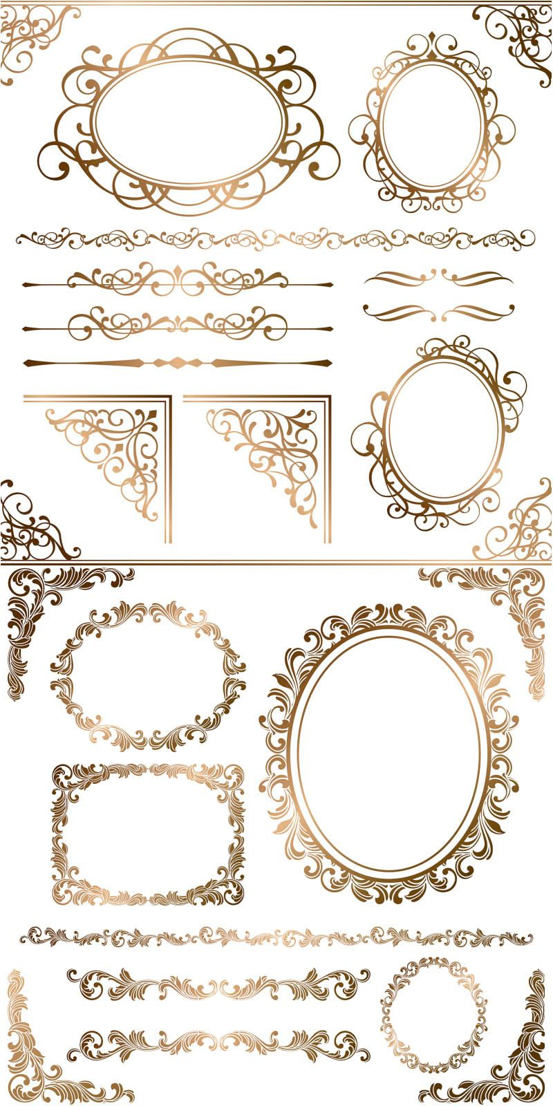 Set of vector gold ornamental elements and frames with floral set of vector gold ornamental elements and frames with floral ornaments for decorating cards invitations stopboris Image collections