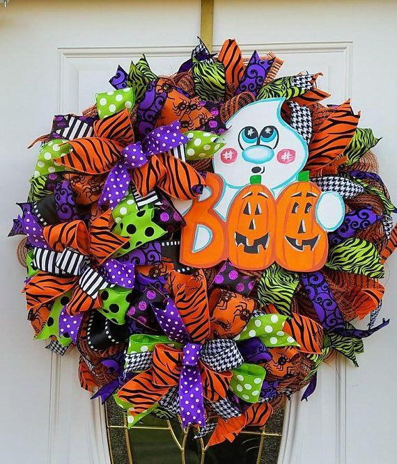 Halloween Ghost Wreath, Ghost Door Decor, Front Door Wreath - decorating front door for halloween