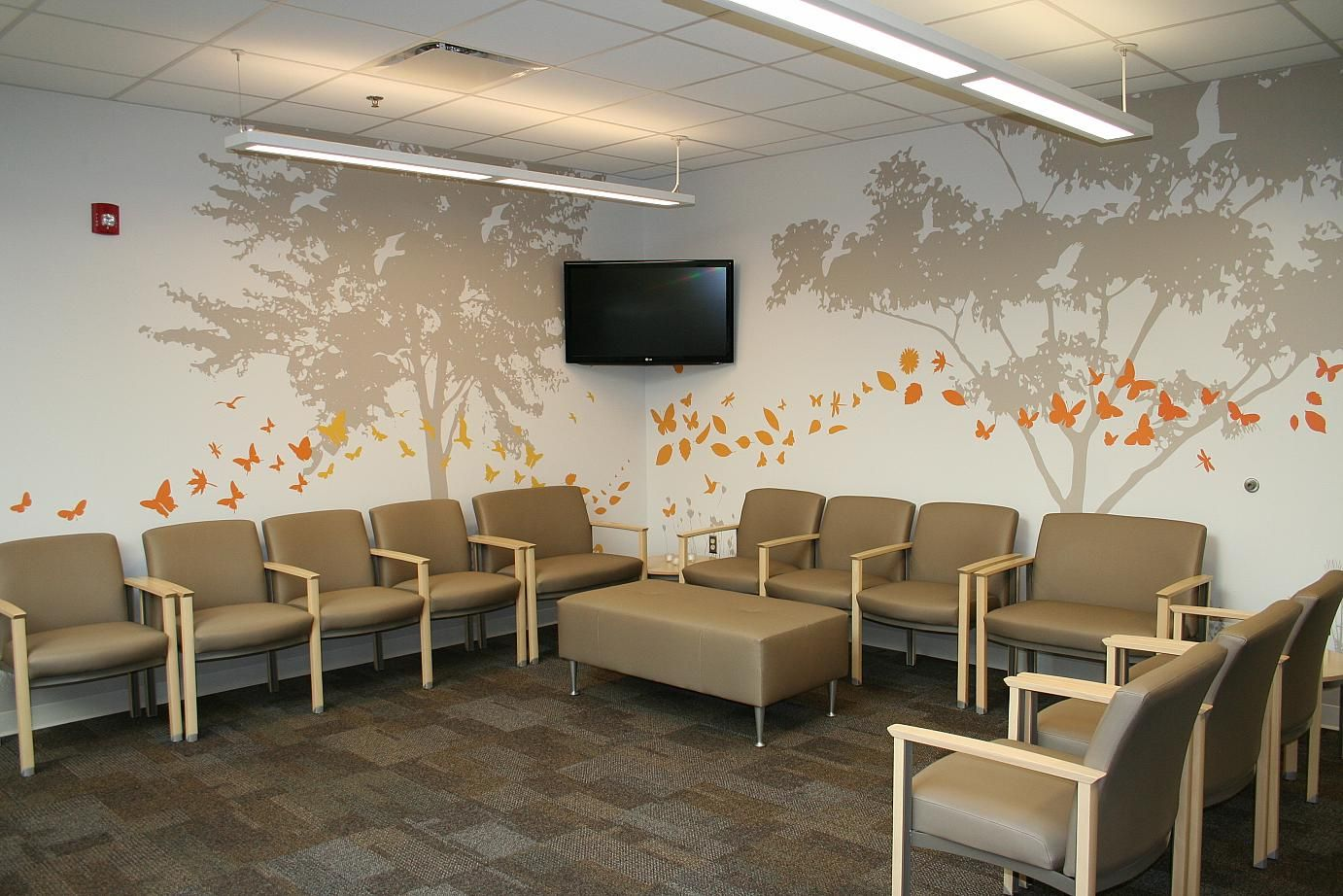 tree silhouette make atmosphere of medical office waiting room