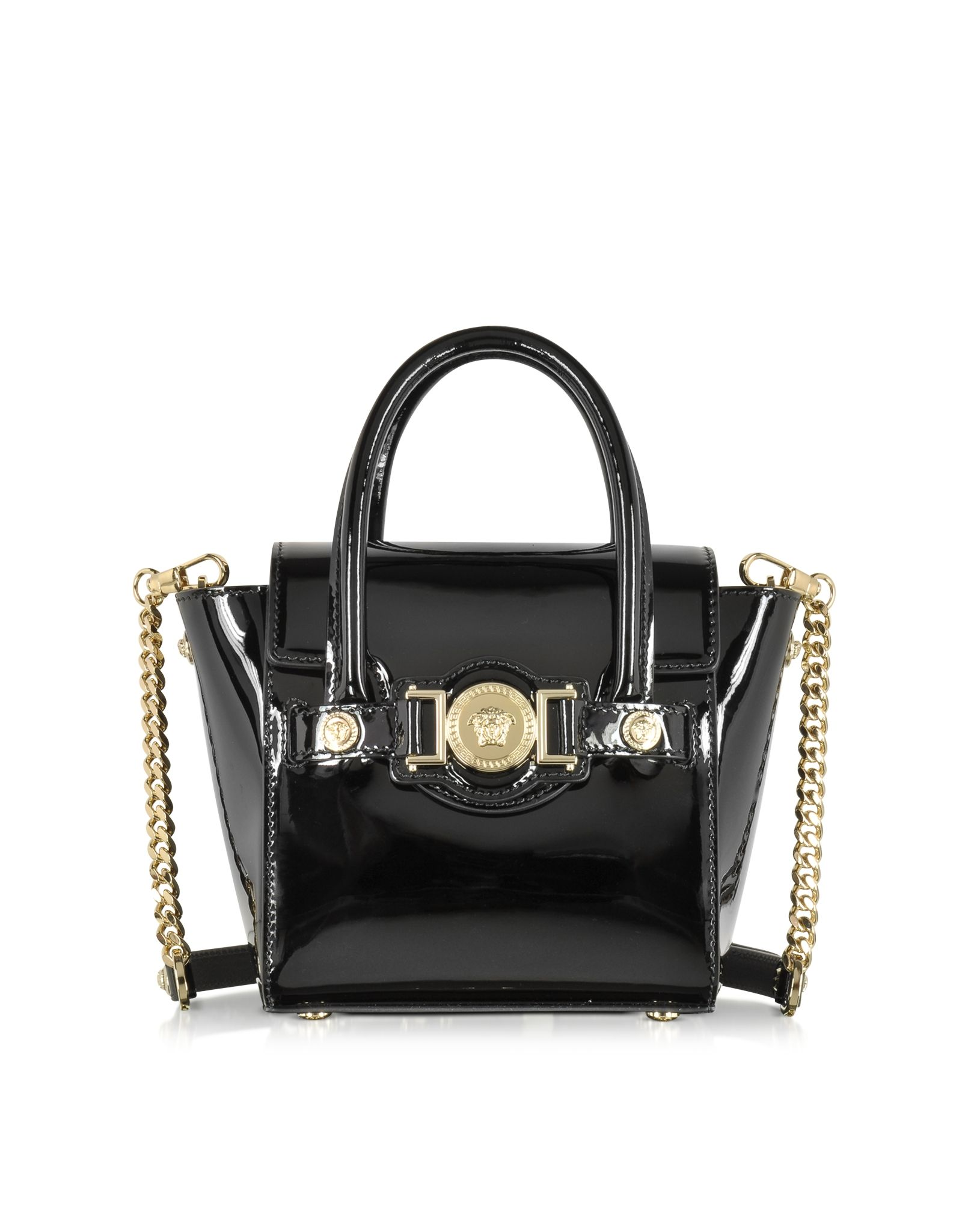 b45010f56fc2 Versace Black Patent Leather Signature Mini Bag at FORZIERI