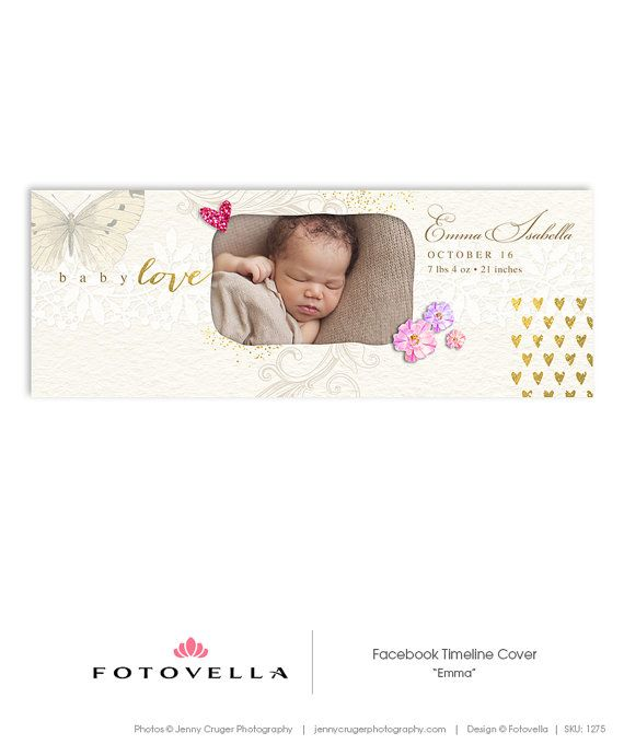 Baby Girl Birth Announcement Facebook Timeline Cover Template - announcement template