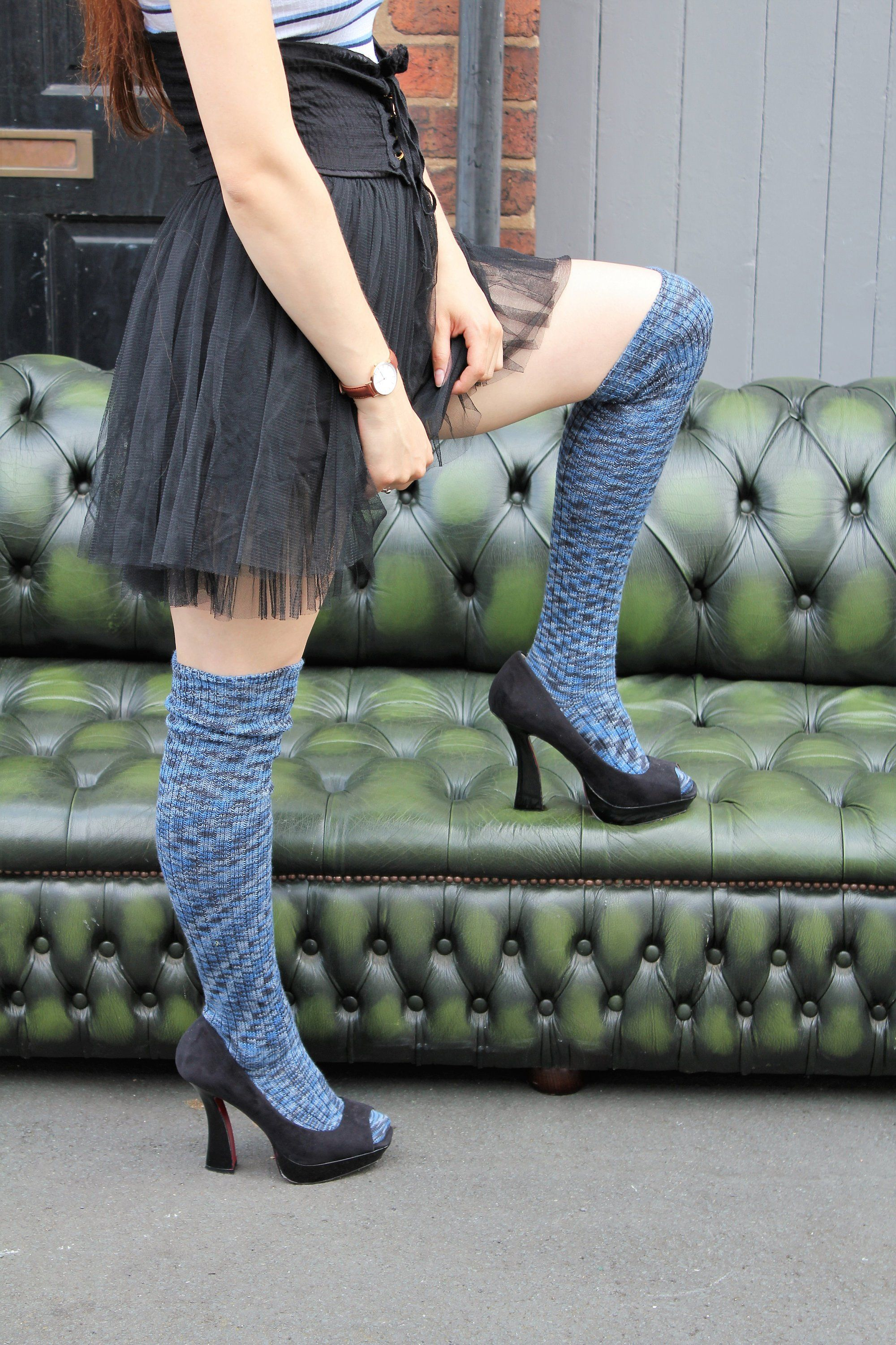 36cab07cf6c Ribbed mottled PLUM Knee Socks - STRIPED Socks Winter Wool stockings ...