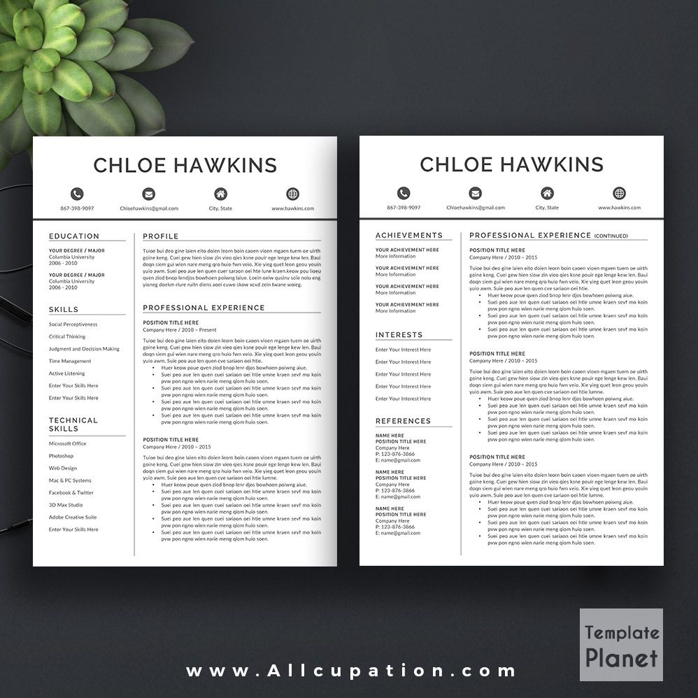 Professional Resume Template    Page Cover Letter