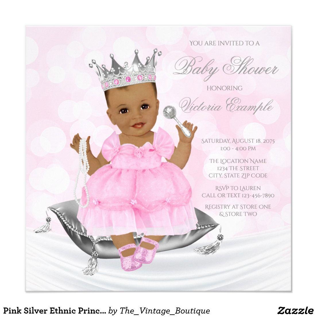 Pink Silver Ethnic Princess Baby Shower Invitation   Ethnic Girl ...