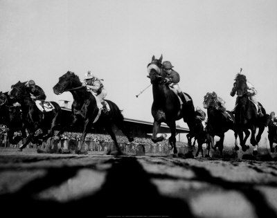 Horse racing at belmont 1950 art print poster and print