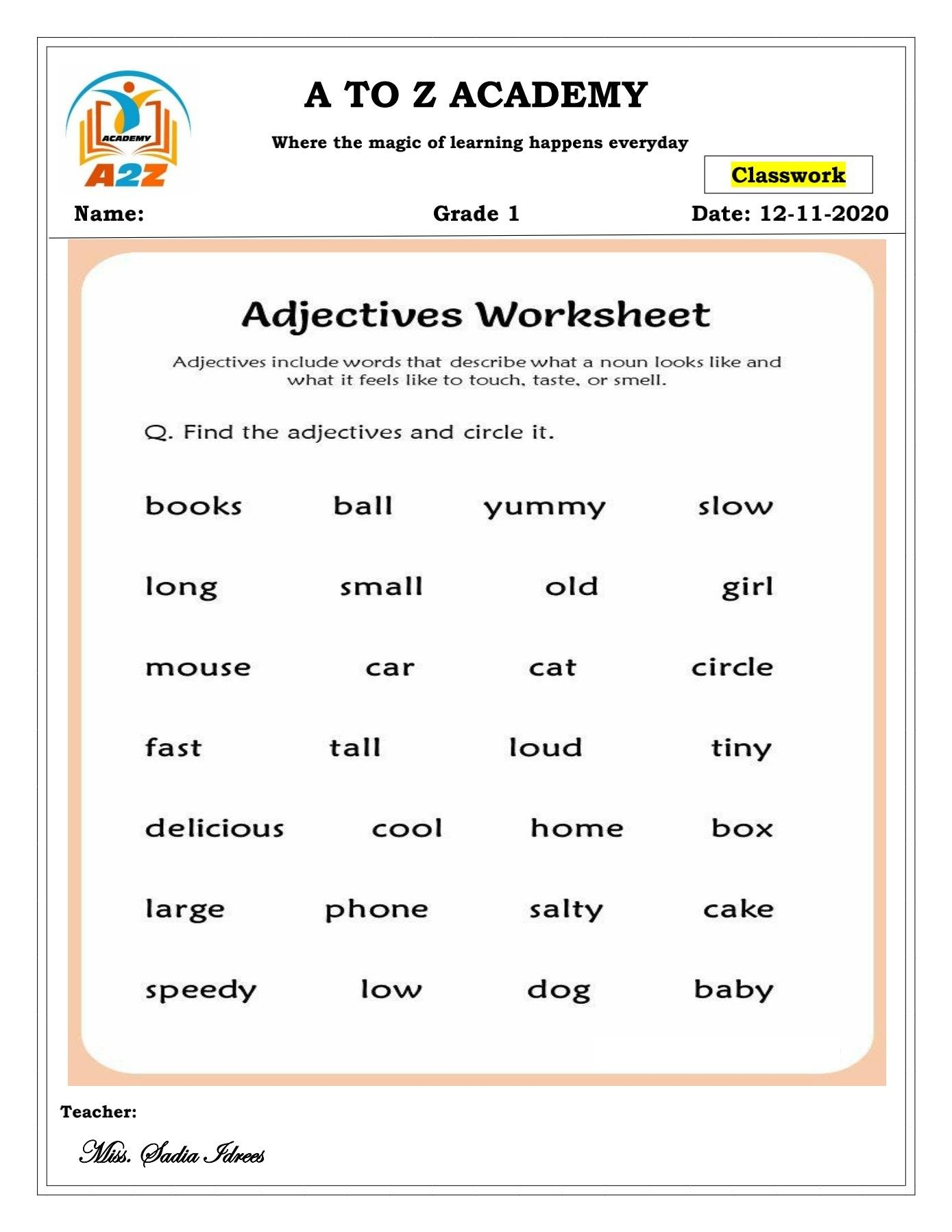 small resolution of Grade 1 English worksheet 'Adjectives'   Adjective worksheet