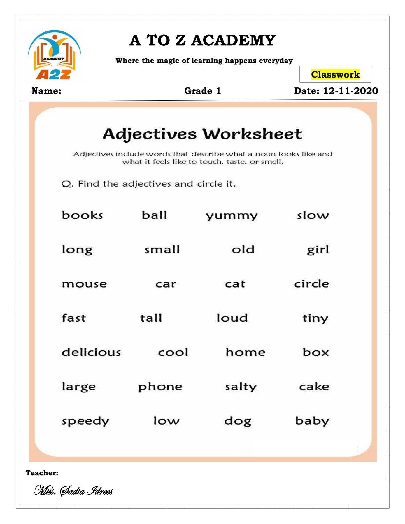 Grade 1 English worksheet 'Adjectives'   Adjective worksheet [ 1797 x 1389 Pixel ]