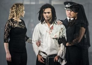 CiCi Howell, Milton Lopes and Natasha Lewis in The Threepenny Opera.  Picture: Patrick Baldwin