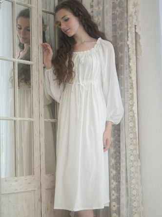 white cotton chemise nightgown - Google Search  91c135a94