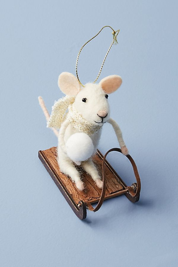 Sledding Mouse Ornament by Anthropologie in Brown, Holiday