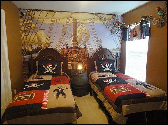 The beds have ship masts above headboards and bedding decorated like  treasure chest of coins jewels for home pinterest also rh