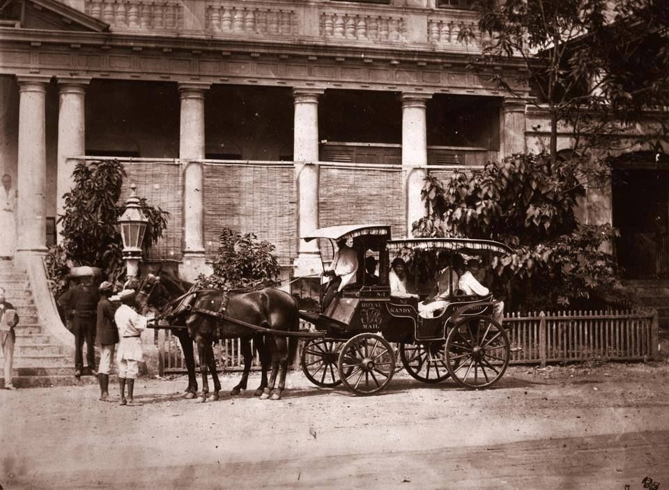 The Colombo - Kandy Mail Coach outside the Royal Hotel Colombo ...