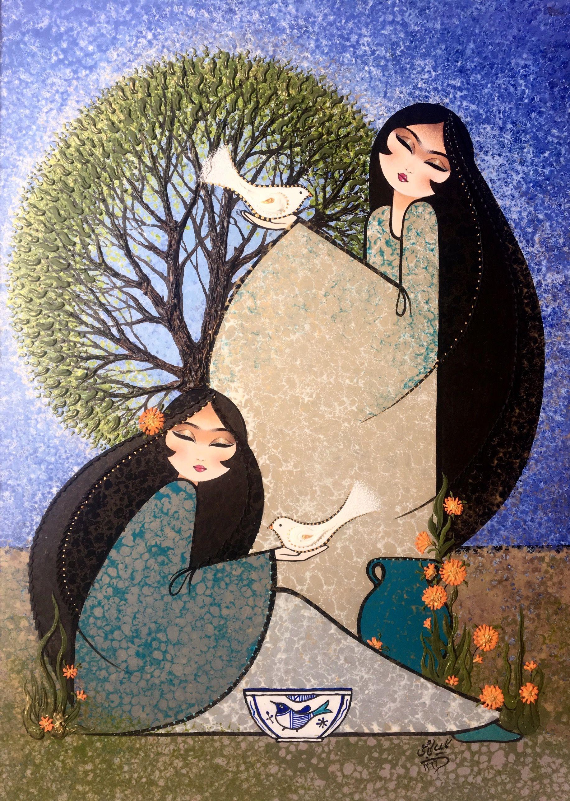 Acrylic Painting نقاشي سنتي ايراني كامليا شجاعي Persian Art Painting Iranian Art Art Painting