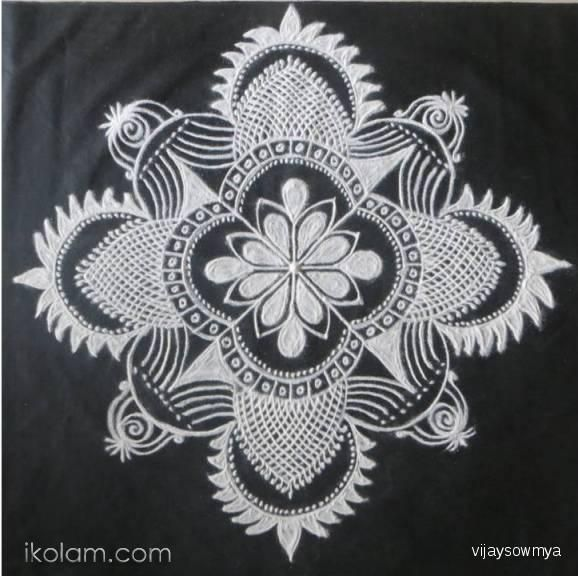 Freehand rangoli in black and white