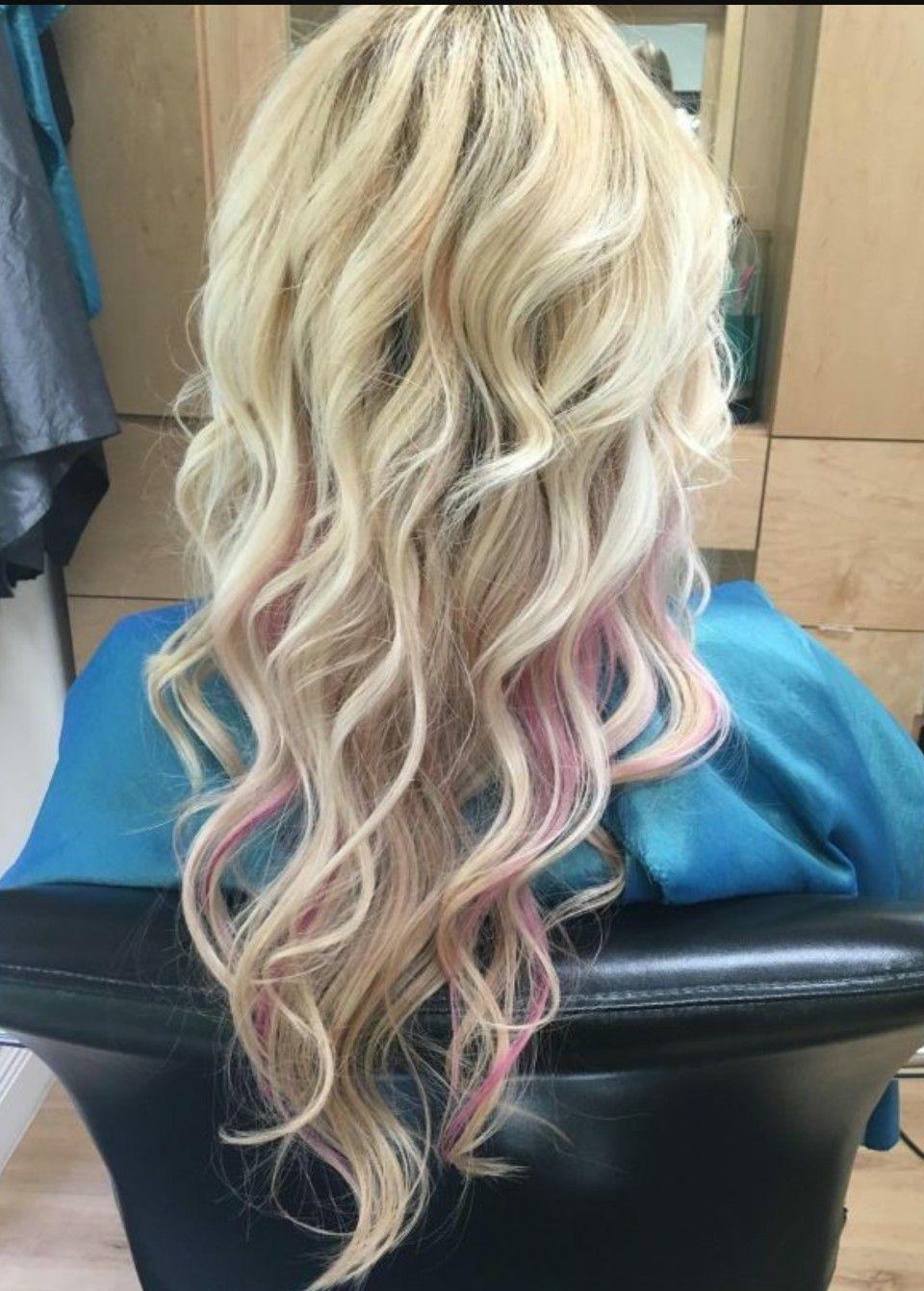 Blonde With Pink Peekaboos Pink Blonde Hair Blonde Hair With Pink Highlights Blonde With Pink