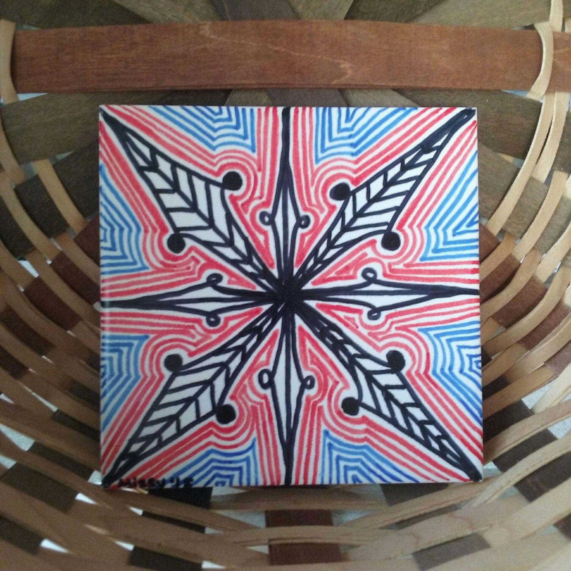 Zentangle inspired sharpie marker art ceramic tile trivet coaster zentangle inspired sharpie marker art ceramic tile trivet coaster doodle tangle pattern artwork for home decor handmade decorative wall art dailygadgetfo Gallery