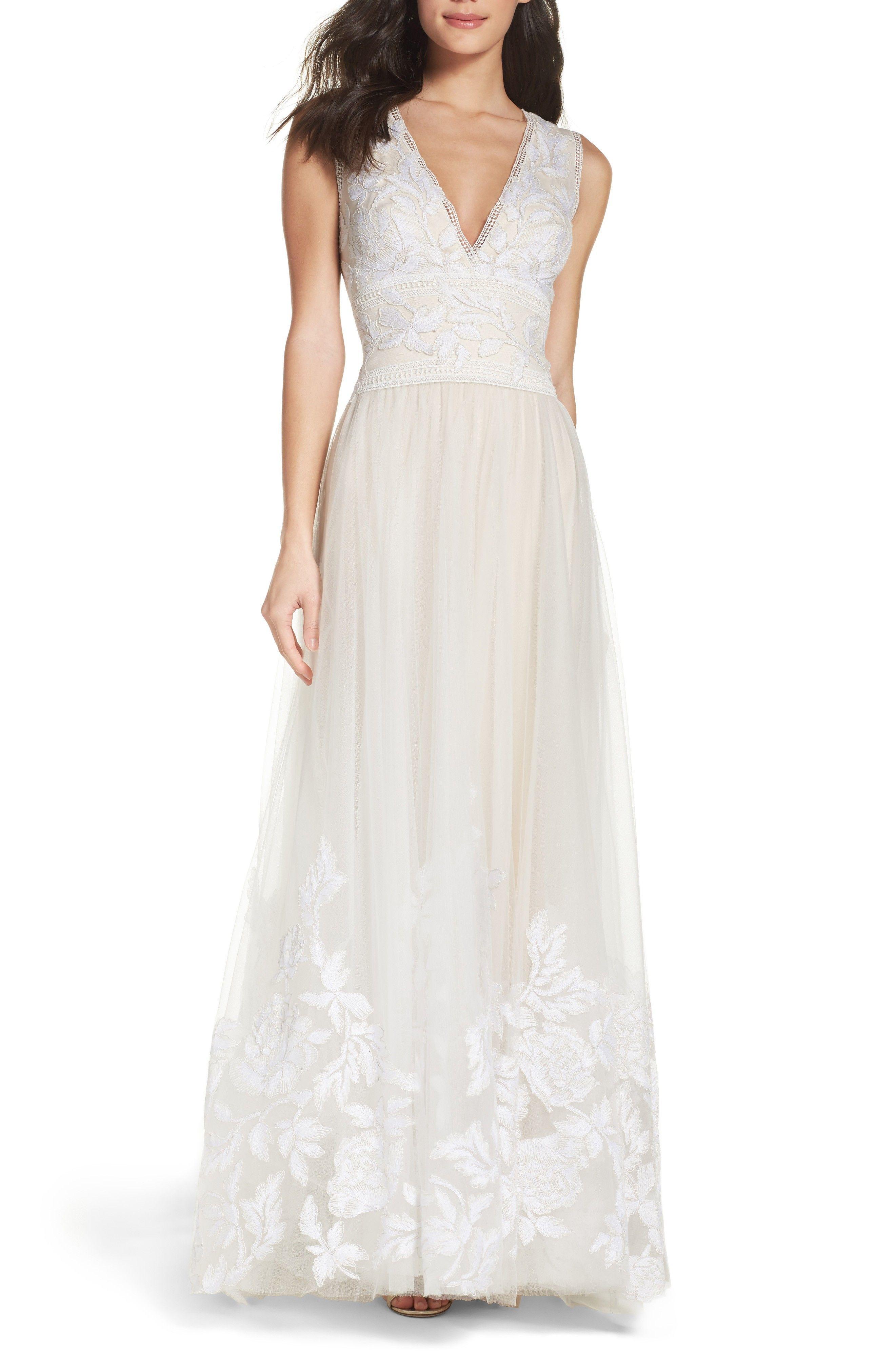 Tulle Lace A-Line Tadashi Shoji Bridal Gown || Budget Friendly ...