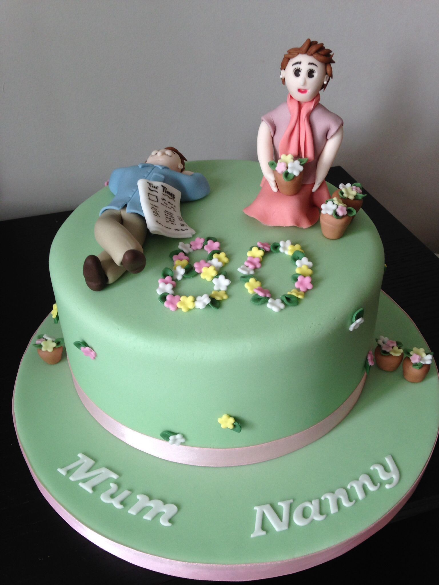 80th Birthday Cake For A Very Busy Lady Gardening Flowers And A