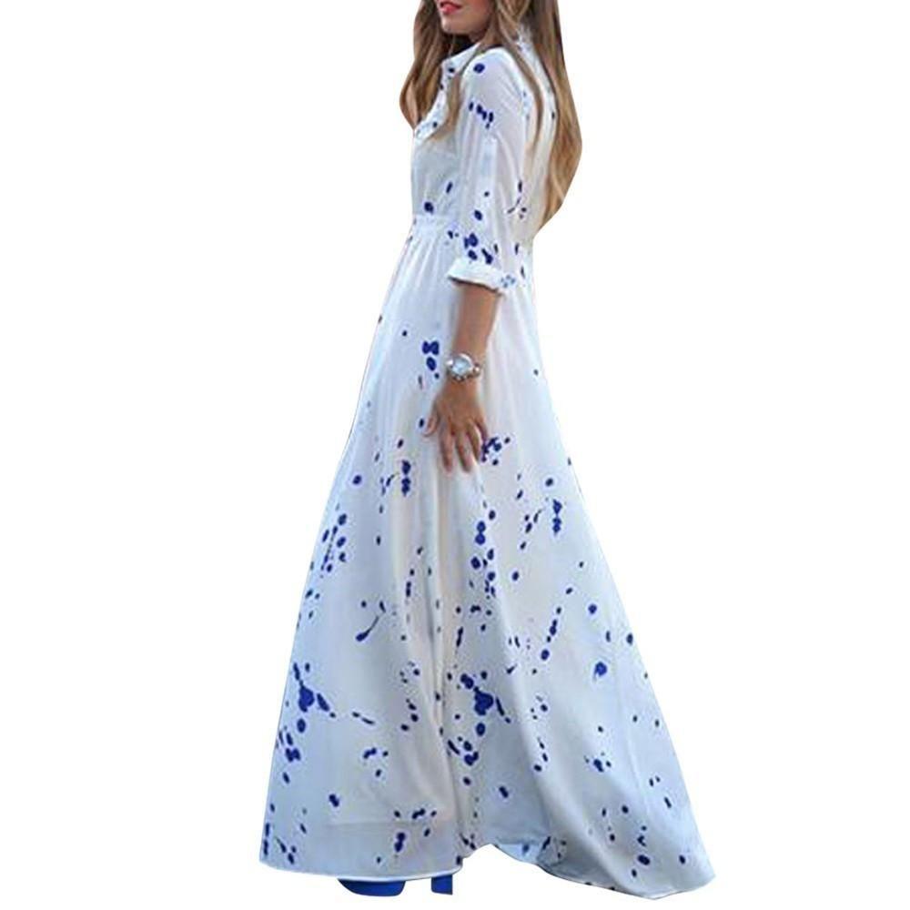 Elegant women polka dot chiffon dress lapel boho beach long maxi